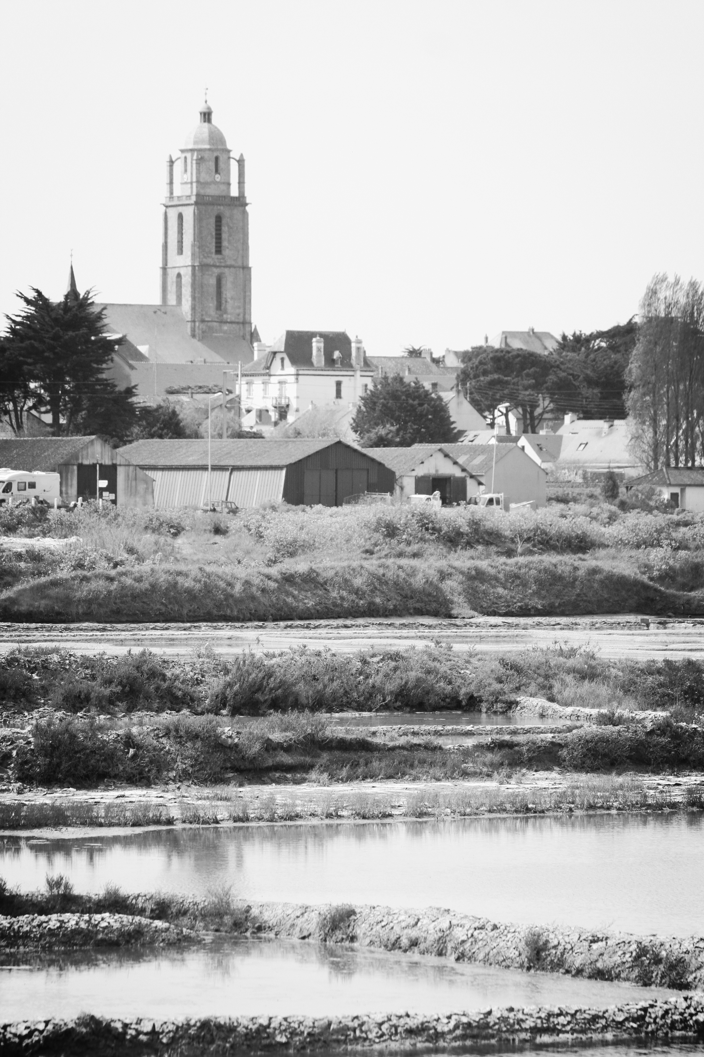 The Bourg de Batz belltower, icon of Batz sea salt, dominates Guérande's salt marches.