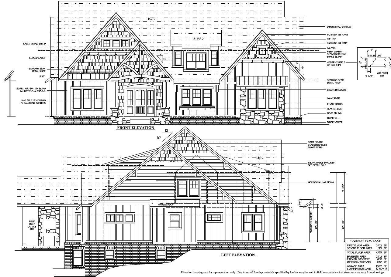 Front and side elevations