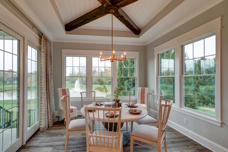 Using hardwoods and natural materials helps bring the outside indoors.