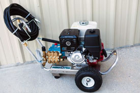 """HI PRO GASOLINE SERIES PRESSURE WASHERS   Gasoline Powered Units From 3.0 to 5.0gpm and 1,000 to 5,000psi.     Cat Pumps with direct drive.   Honda """"GX Series"""" engines with recoil start and electric start upgrade.  Heavy Duty, Aircraft Grade Aluminum Frame, 7ga. (3/16"""") construction, with Oil Drain Port for Easy Maintenance, Front & Rear Handles, Steel Axle and 10"""" Pneumatic Tires. Hose Hook on Front Handle  Heavy-duty spray gun assembly, featuring a Suttner trigger gun, Model ST-2000, rated to 10gpm @5000psi. 36"""" zinc-plated steel lance w/ molded grip. Quick disconnects.  50' x 3/8"""" high pressure hose assembly, rated to 4,000psi with quick disconnects.  5 nozzle assortment wi/ chemical nozzle, quick connect style.  Heavy-duty regulator/Unloader valve, pump mounted.  Down stream, low-pressure chemical injection and thermal relief valve.    OPTIONAL:    Briggs, Kohler & Vanguard engines.  Stationary units.  Custom built units to 5,000psi.  Other pump manufacturers available upon request."""