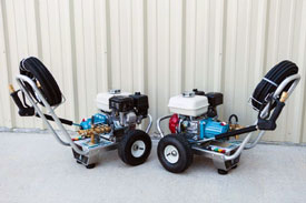"""MINI PRO GASOLINE SERIES PRESSURE WASHERS   Gasoline Powered Units From 1.0 to 3.0gpm and 500 to 3,000psi.     Cat Pumps with direct drive.   Honda """"GX Series"""" engines with recoil start.  Heavy-Duty, Aircraft Grade aluminum Frame, 7ga. (3/16"""") construction, with Oil Drain Port for Easy Maintenance. Front & Rear Handles, Steel Axle and 10"""" Pneumatic Tires.Hose Hook on Front Handle.  Spray gun assembly rated to 6.5gpm @3,600psi. 24"""" zinc-plated steel lance w/molded grip. Quick disconnects.  50' x 3/8"""" high pressure hose assembly, rated to 4,000psi with quick disconnects.  5 nozzle assortment w/chemical nozzle, quick connect style.  Regulator/unloader valve, pump mounted.    OPTIONAL:    Briggs or Kohler engines.  Stationary units.  Custom built units.  Other pump manufacturers available upon request."""