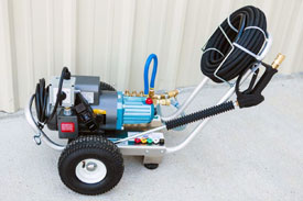 """SUPER FLOW ELECTRIC SERIES PRESSURE WASHERS   Electric Powered Units from 1.0 to 5.0gpm and 100 to 3,000psi.    Cat Pumps """"SF or CP Series"""" direct drive.   Direct Mount, C-Face or close-coupled pumps mounted to electric motors. 115/230v single phase and 230/460v three phase.  Heavy-Duty, Aircraft Grade Aluminum Frame, 7ga. (3/16"""") construction. Front & Rear Handles, Steel Axle and 10"""" Pneumatic Tires. Hose Hook on Front Handle.  Heavy-duty spray gun assembly, featuring a Suttner trigger gun, Model ST-2000, rated to 10gpm @5,000psi. 36"""" zinc-plated steel lance w/molded grip and quick disconnects.  50' x 3/8"""" high pressure hose assembly, rated to 4,000psi, with quick disconnects.  5 nozzle assortment w/chemical nozzle, quick connect style.  Regulator/unloader valve, pump mounted and thermal relief valve.  Down stream, low-pressure chemical injection.    OPTIONAL:    Stationary Units.  Custom Built Units.  Other Pump Manufacturers Available upon Request."""