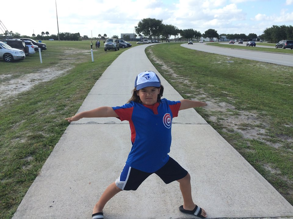 Our little Warrior with his Dunedin Blue Jays hat on!