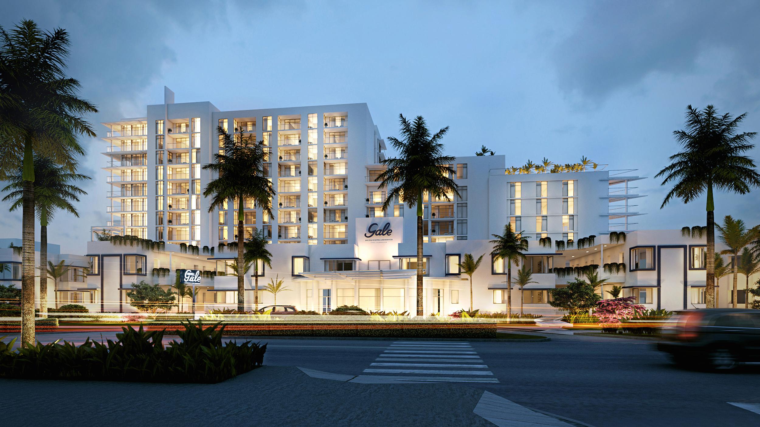 Gale Ft.Lauderdale Hotel Boutique Building at Dusk