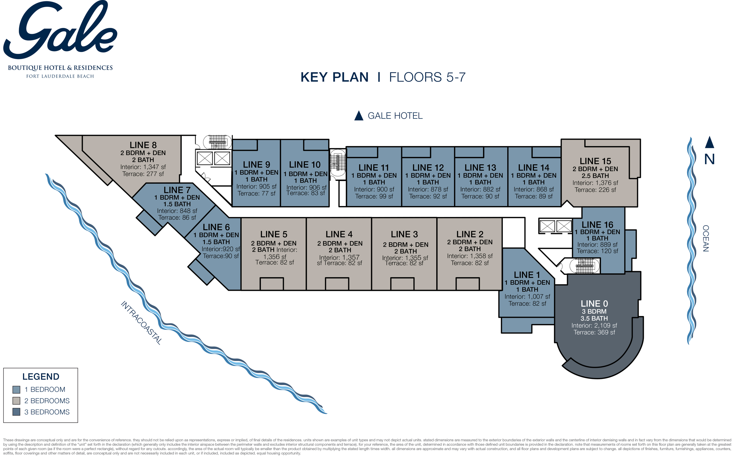 Gale Boutique Hotel & Residences Ft.Lauderdale Floors 5-7 Key Plan