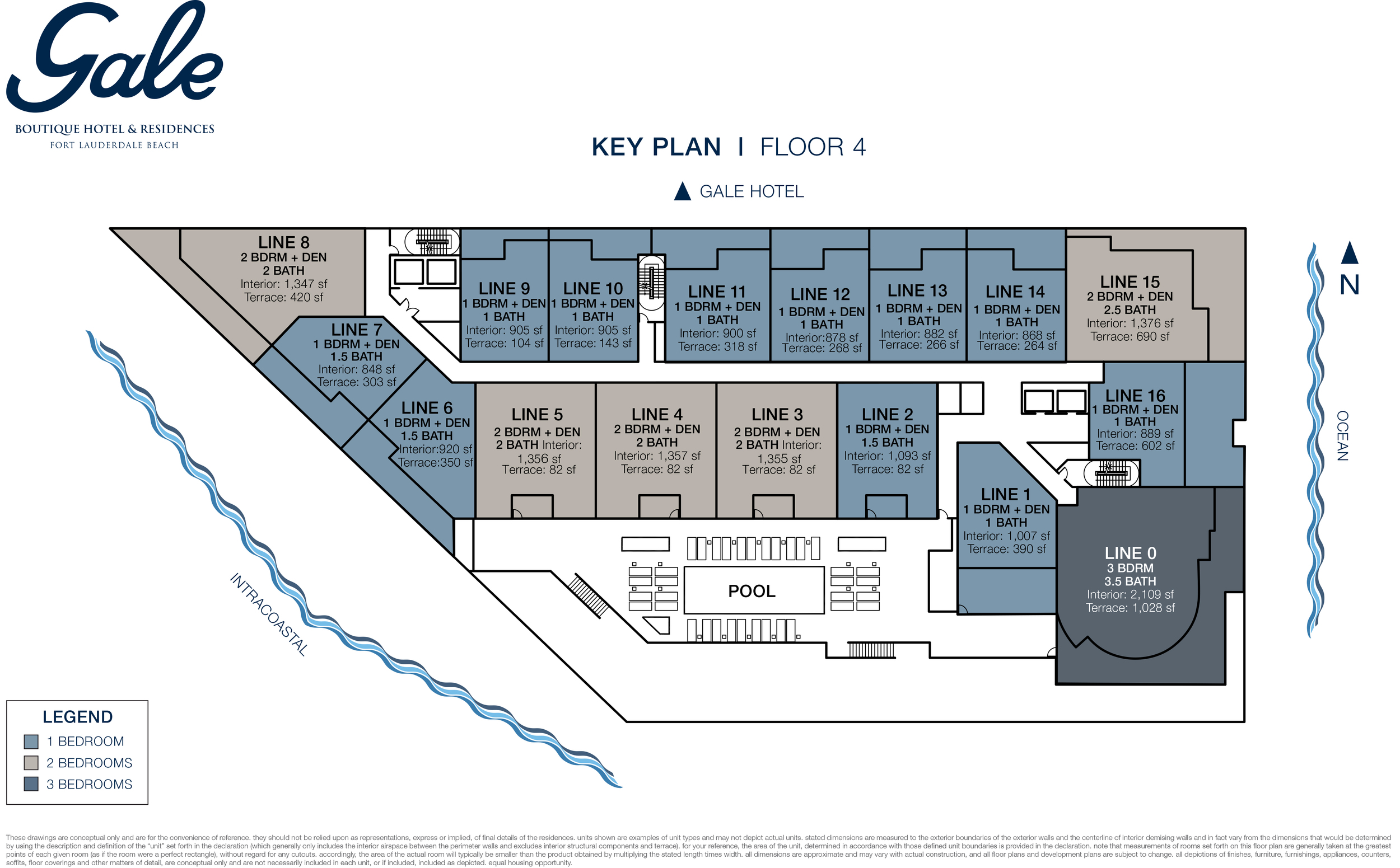 Gale Boutique Hotel & Residences Ft.Lauderdale 4th Floor Key Plan