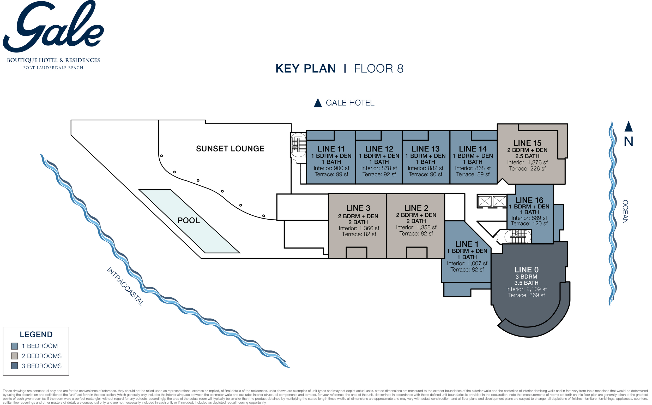 Gale Boutique Hotel & Residences Ft.Lauderdale 8th Floor Key Plan