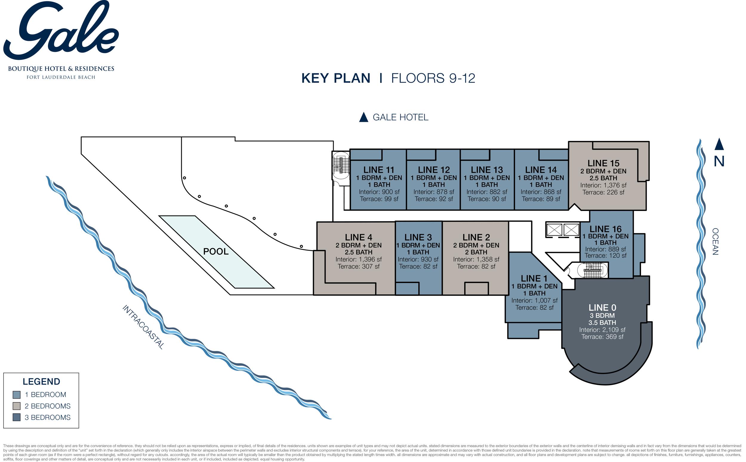 Gale Boutique Hotel & Residences Ft.Lauderdale Floors 9-12 Key Plan