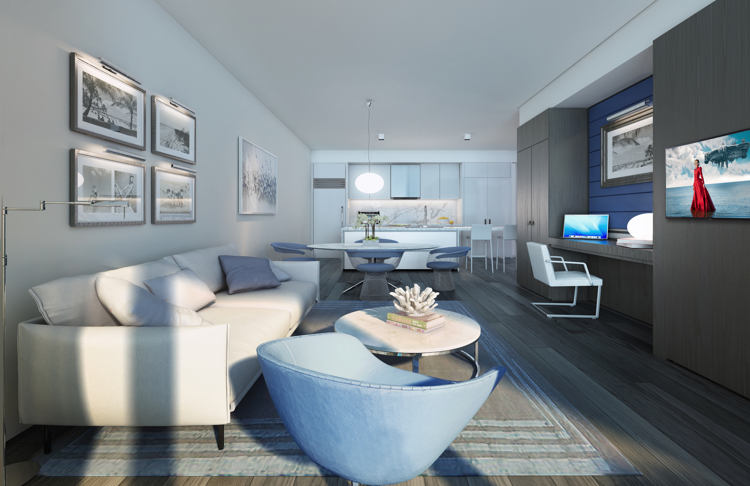Gale Residences Ft.Lauderdale Living Room To Kitchen