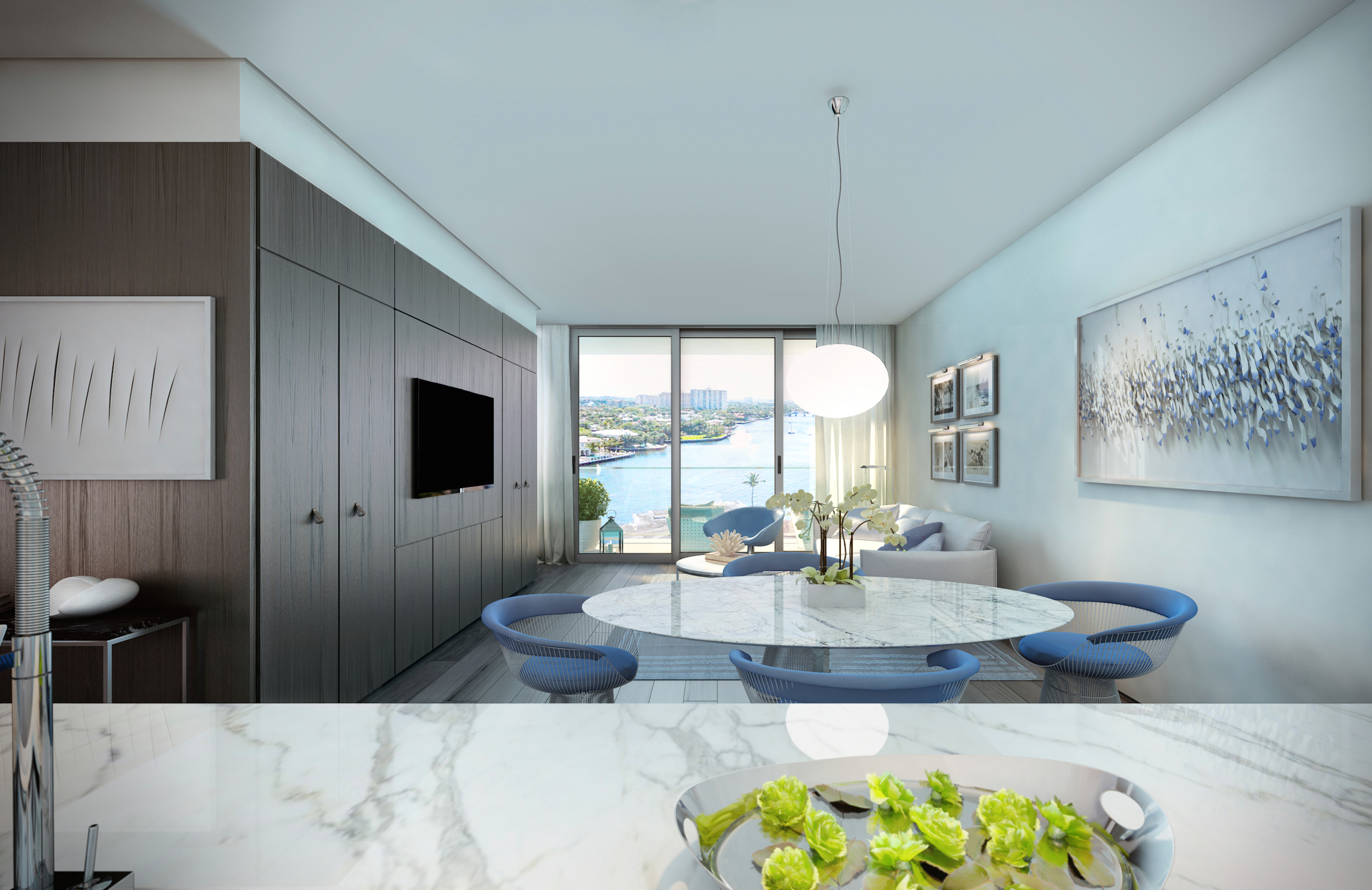 Gale Residences Ft.Lauderdale Kitchen To Living Room