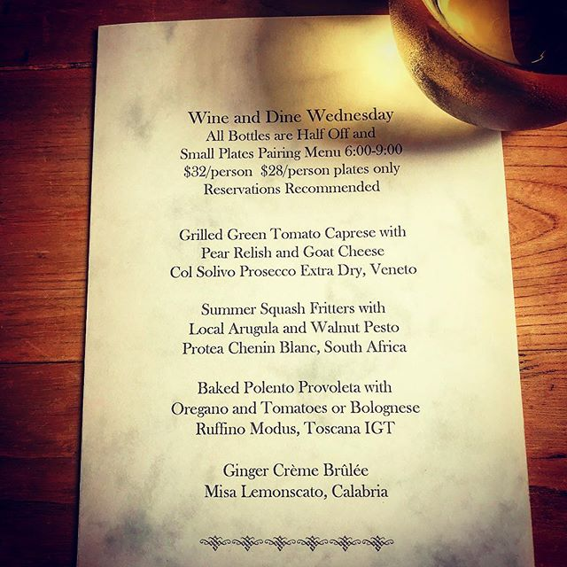 Hello Boonies, Foodies, and Wine Conoisseuries! 🤓 We missed you so much last week and are so pleased to share some stellar wine and food with you this Wednesday!  Check out the menu and get at us if you would like a reservation! #wineanddinewednesday