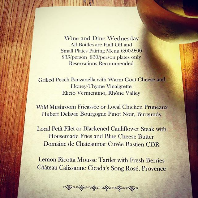 Bonjour Boone!  This week we are sharing wines from Burgundy, Provence, and Rhone Valley and a French inspired menu to match!  Come see us and enjoy a lovely time.  Reservations recommended. 🤓