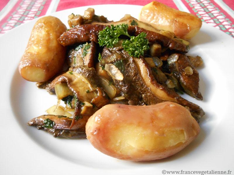 Cèpes à la bordelaise (plat végétalien)