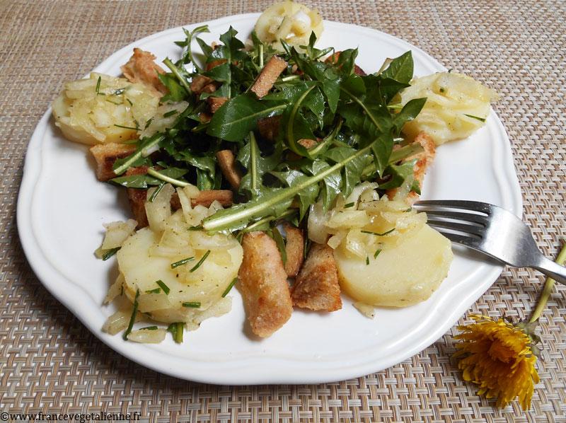 Pissenlits à la chaude meurotte (recette végétalienne)