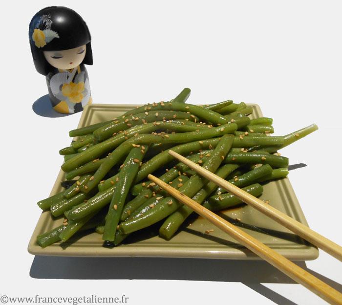 Haricots verts à la sauce japonaise (recette végane)