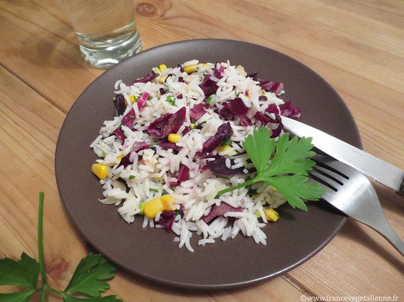 Salade de riz et chou rouge