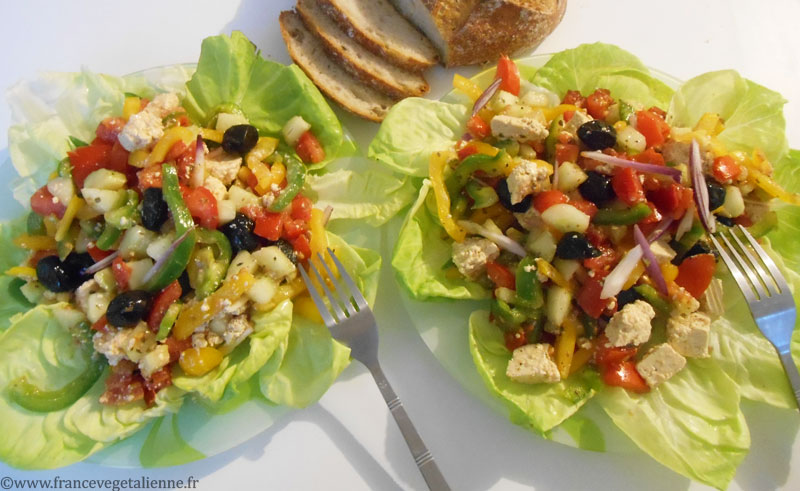 Salade grecque (recette végétalienne)
