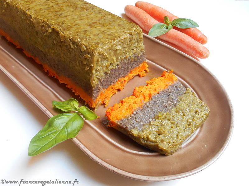 Terrine de légumes végane (haricots verts, champignons, carottes)