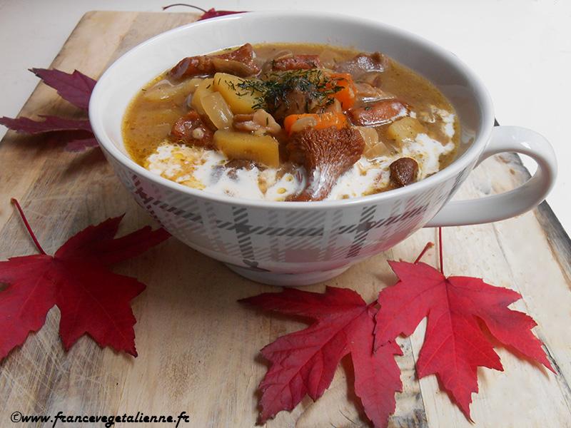 Soupe aux champignons des bois (vegan)