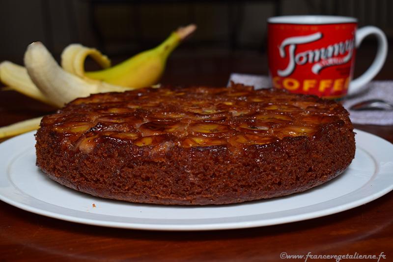 Gâteau renversé à la banane (vegan)