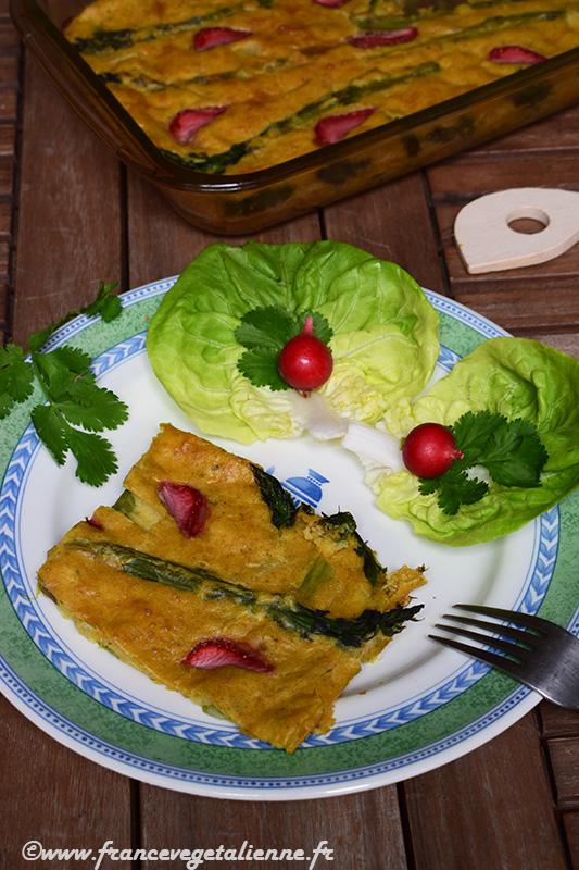 Clafoutis aux asperges (sans oeuf, sans lait)