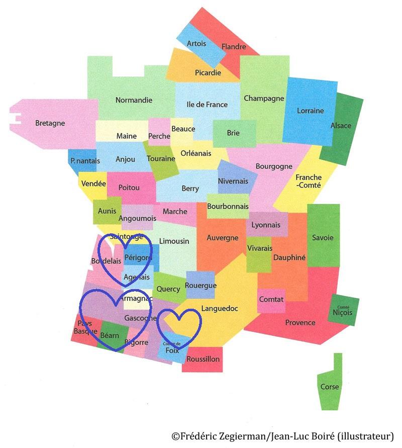 Spécialité de: Saintonge, Bordelais, Périgord, Agenais, Armagnac, Gascogne, Pays Basque, Béarn, Bigorre, Comté de Fox, Languedoc, Midi Toulousain...