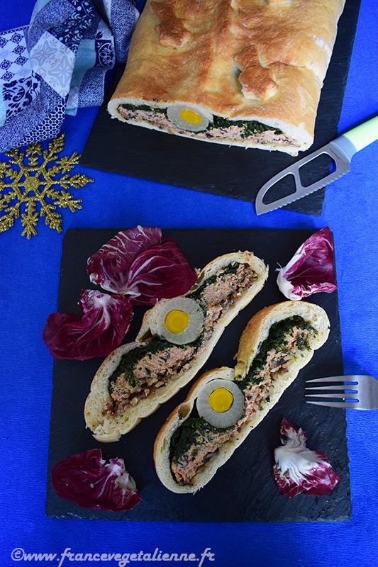 """Koulibiac au """"saumon"""" et épinards (recette végane)"""