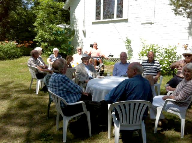 Earl Gerber at Good Sam, enjoying the refreshments on a lovely summer Sunday.
