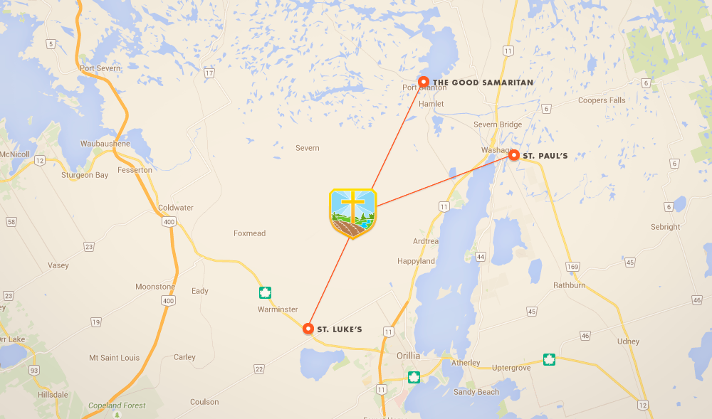These are the locations of the 2 year-round churches of St. Paul's (Washago) and St. Luke's (Price's Corners). The Good Samaritan at Port Stanton is open Sundays from Canada Day through Labour Day.