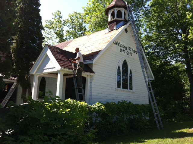 Good Sam gets new shingles. Thanks to all who supported the project, and to John Naylor Roofing and his crew.