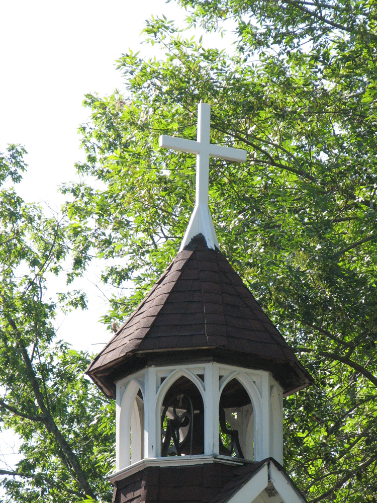 Bell tower cross dedicated to Gordon Jacox, August 25, 2019.