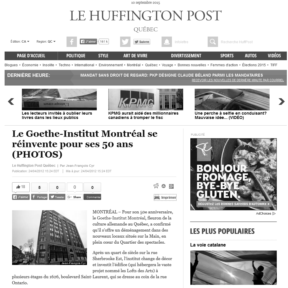 Le Huffington Post, 24/04/2012