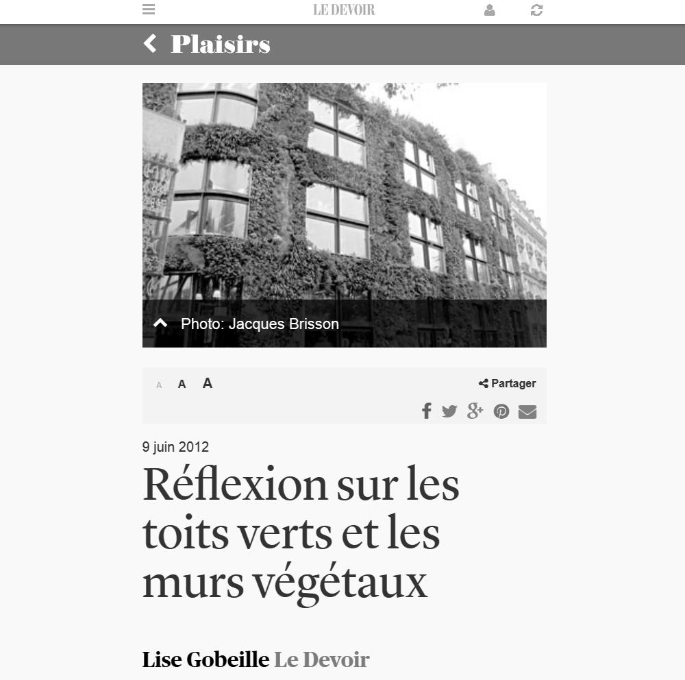 Le Devoir, 09/06/2012