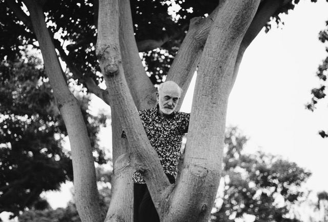 Remy Charlip revisiting trees that years earlier inspired his  Garden Lilac dance. Robertson Blvd., Santa Monica, California. Photo: Kevin Gralewski (used by permission).