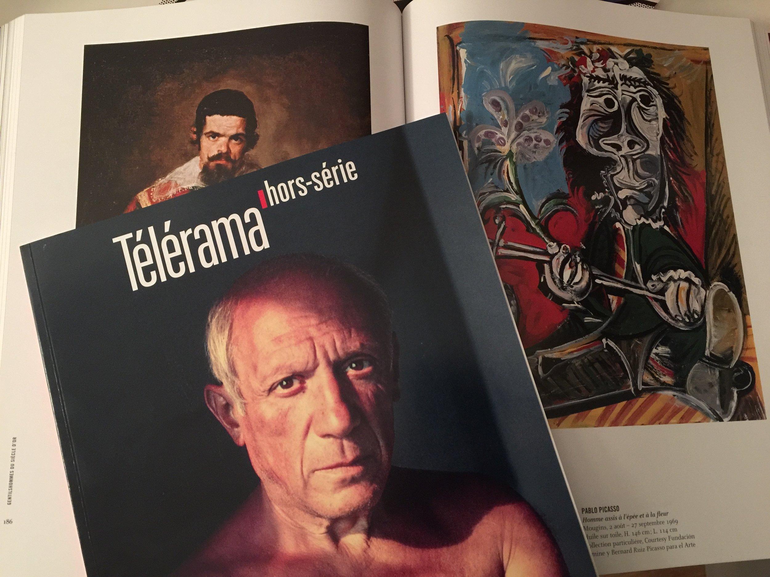 """Gjon Mili,  Picasso , 1948 / Diego Velasquez,  """"Portrait du nain Sebastian de Morra"""" , 1644 / Pablo Picasso,  """"Homme assis à l'épée et à la fleur"""" , 1969"""