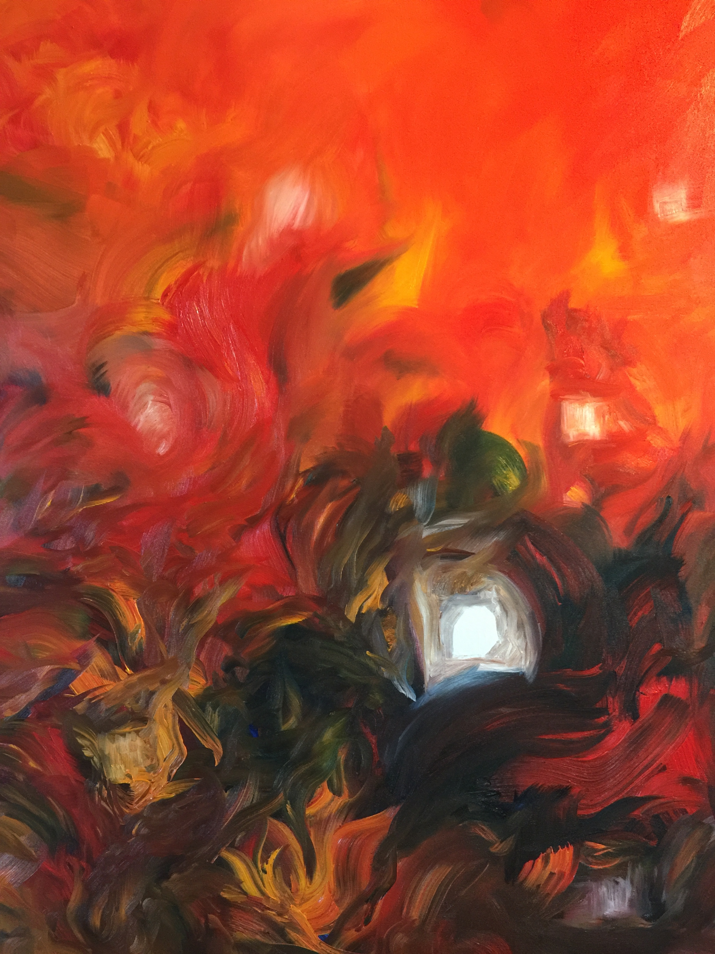 Anthropocene's burning? « On fire », Oil on canvas, « home » series, 30F (92x73cm), Renaud Gaultier 2019.
