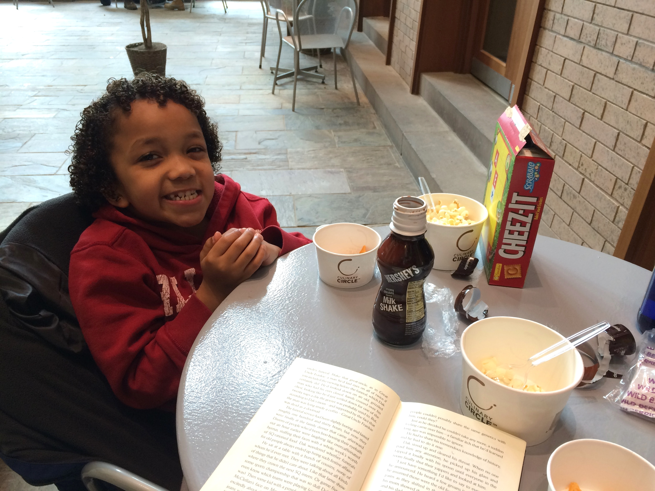 Eating snacks and reading at the local library