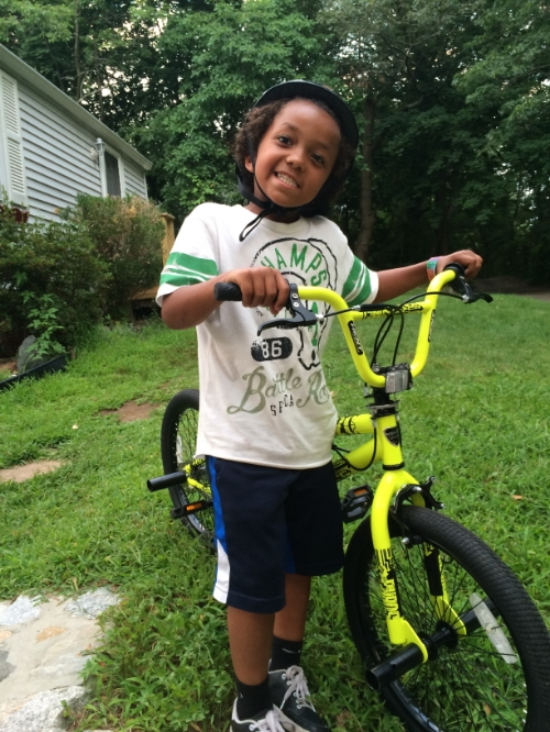 Showing off his new bike!