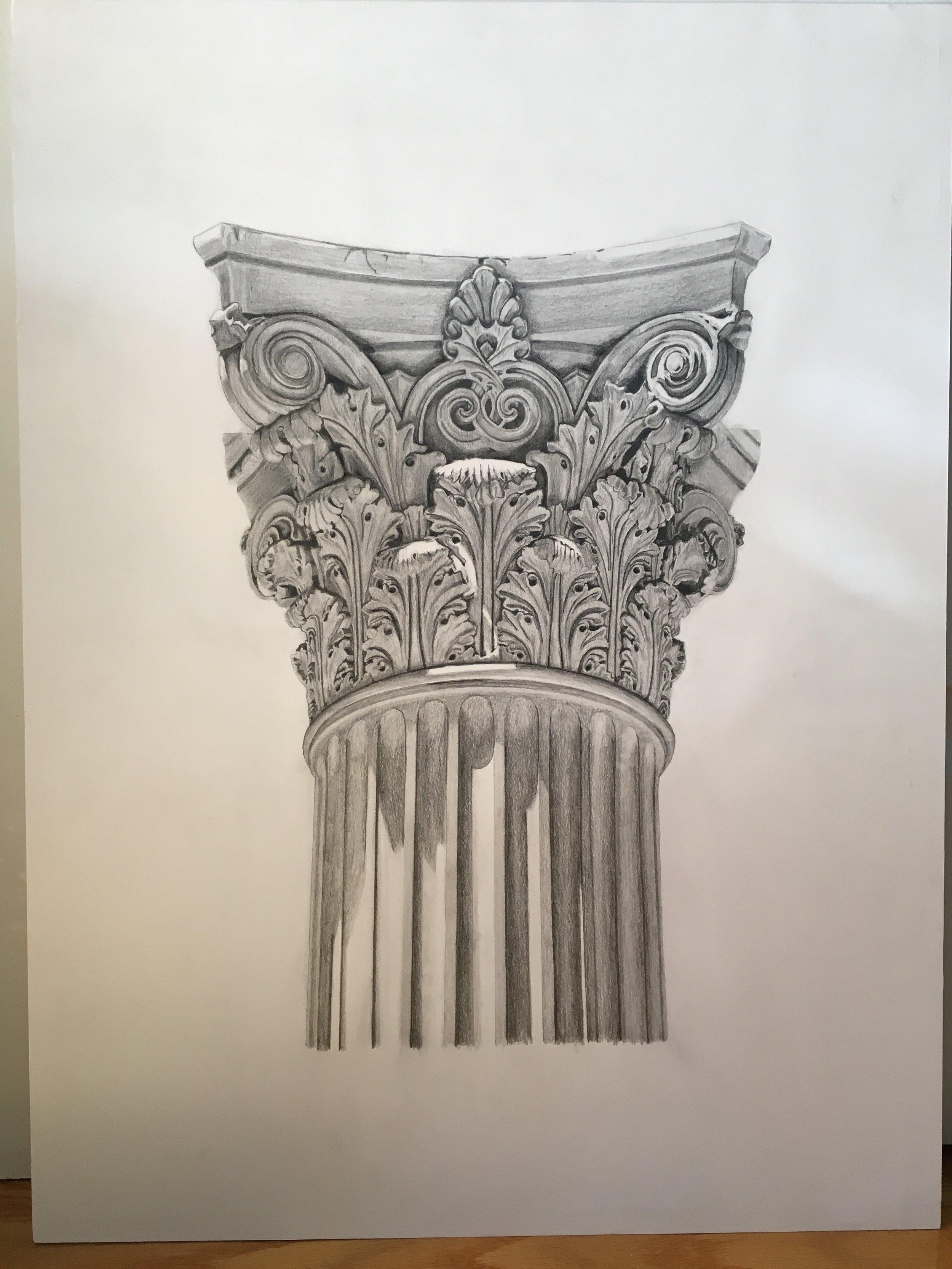 "Corinthian capital<br>Pencil on paper mounted on 18"" x 24"" masonite"