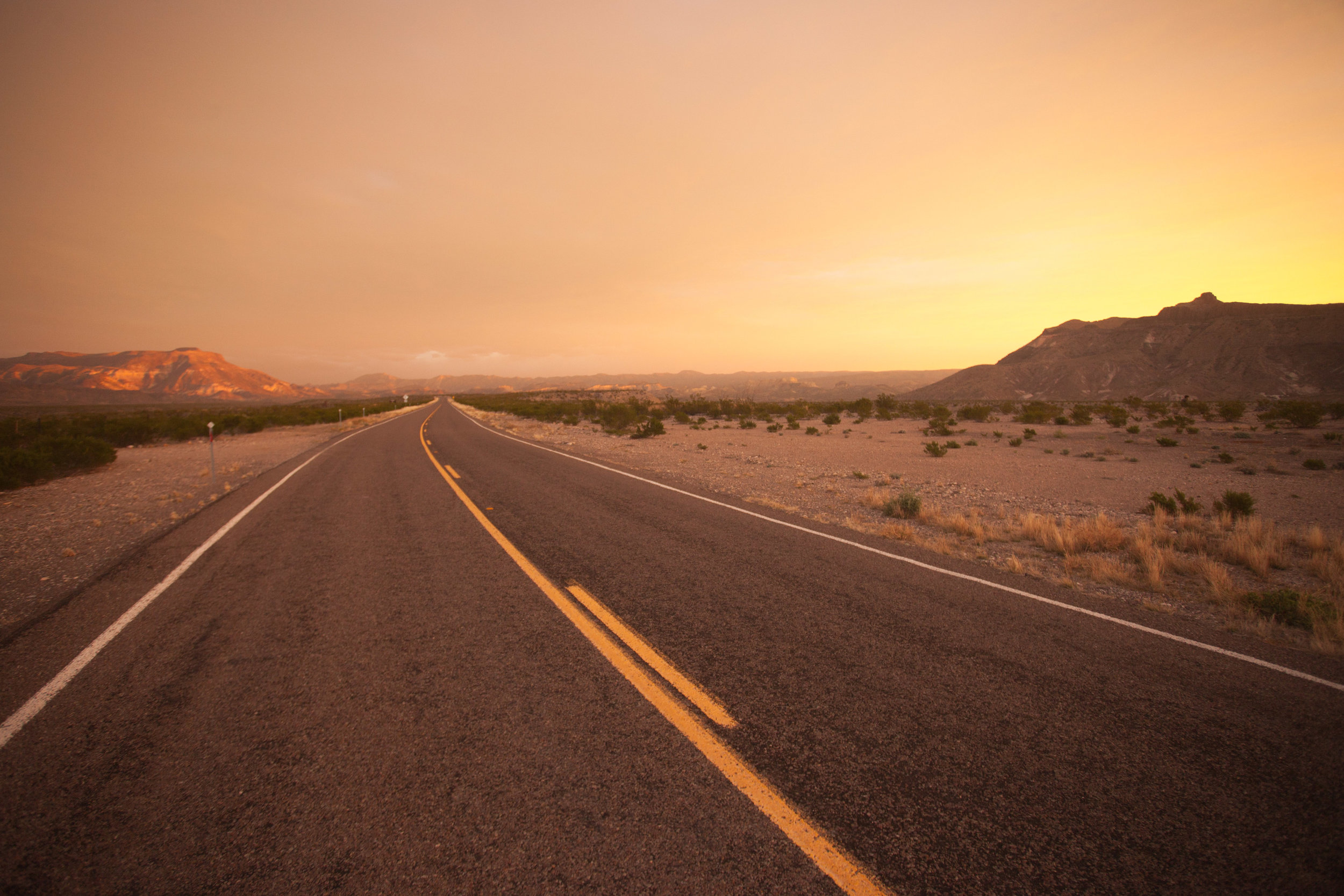 A road just outside of Big Bend National Park at dawn