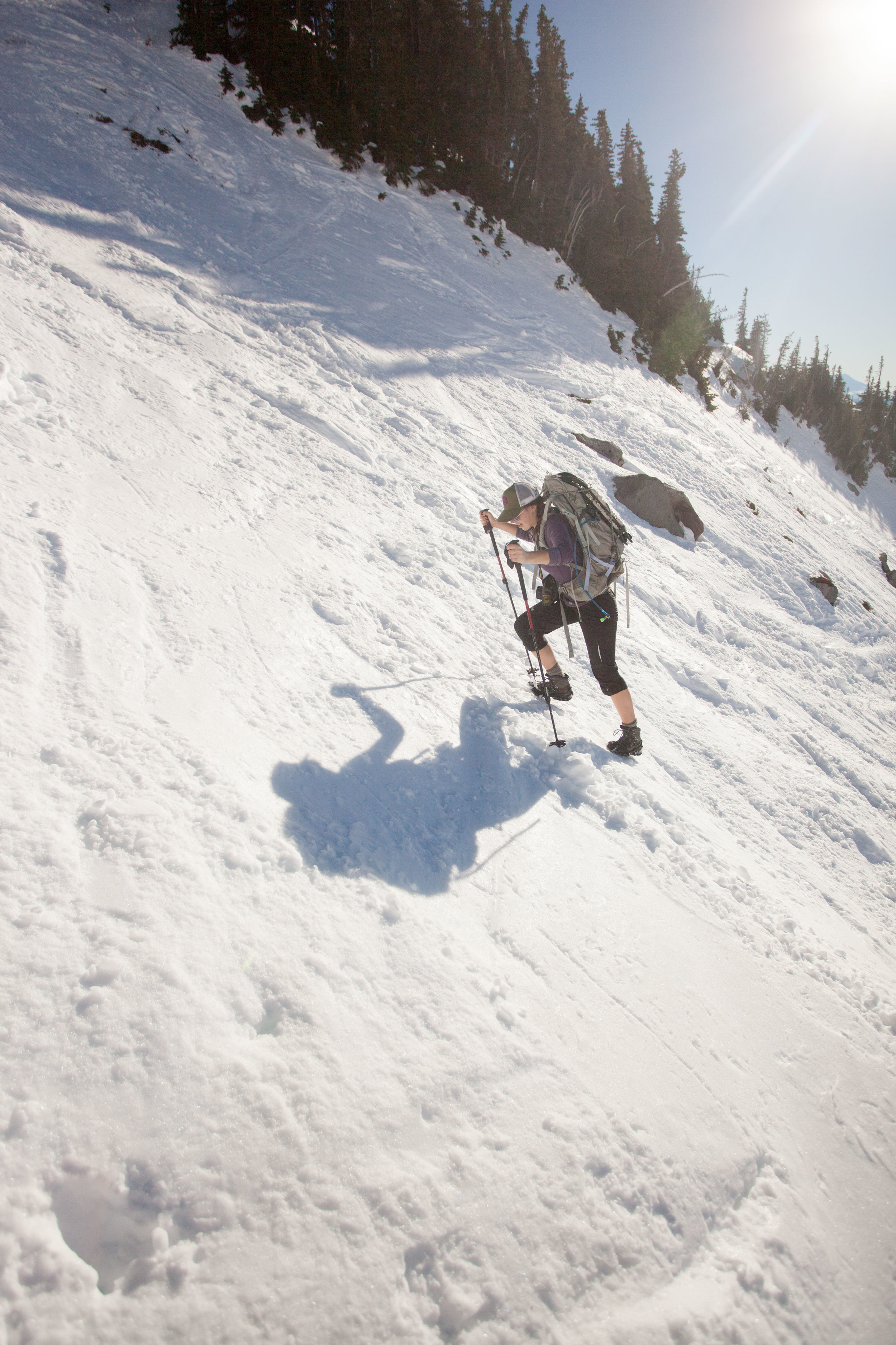 Panorama Face was almost too steep for microspikes, and on the way down we very carefully descended on snowshoes.