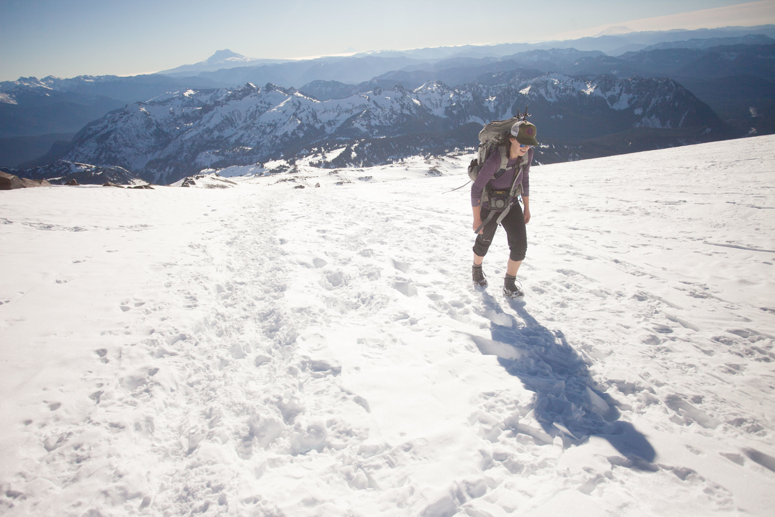 Heading up Muir Snowfield, the snow began to soften up in the bright sunshine.