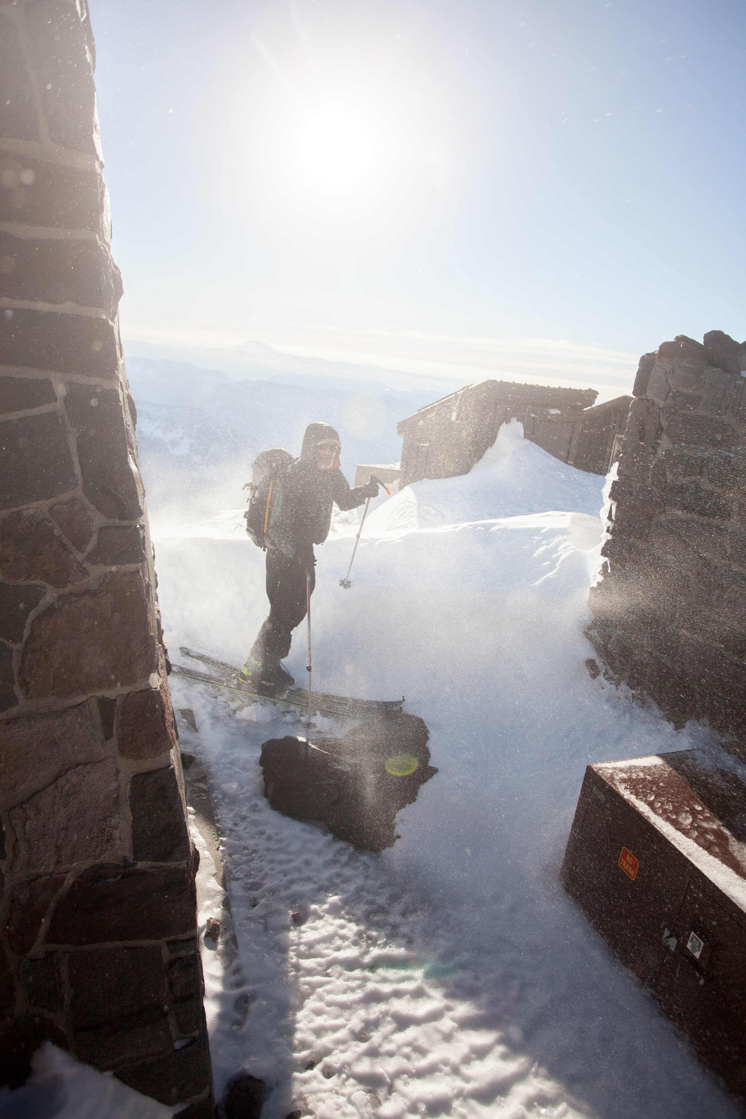 30 mph winds whipped us around at Camp Muir