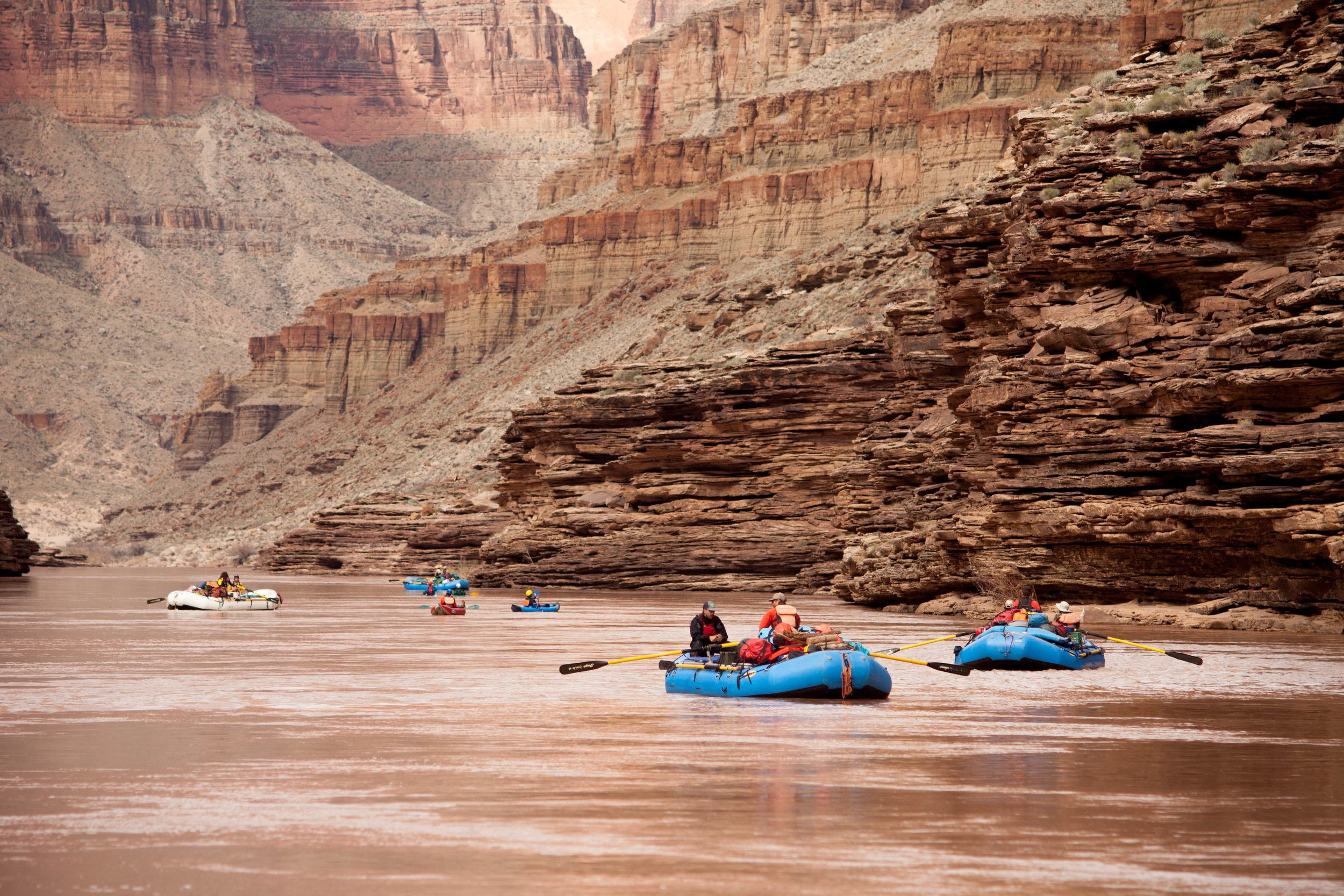 Drifting through Conquistador Aisle - one of the longest straight stretches of river in the Canyon