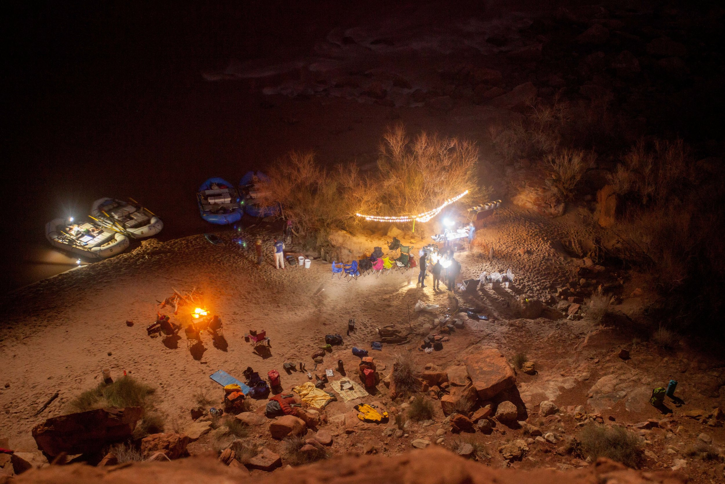 Our sprawling camp at night