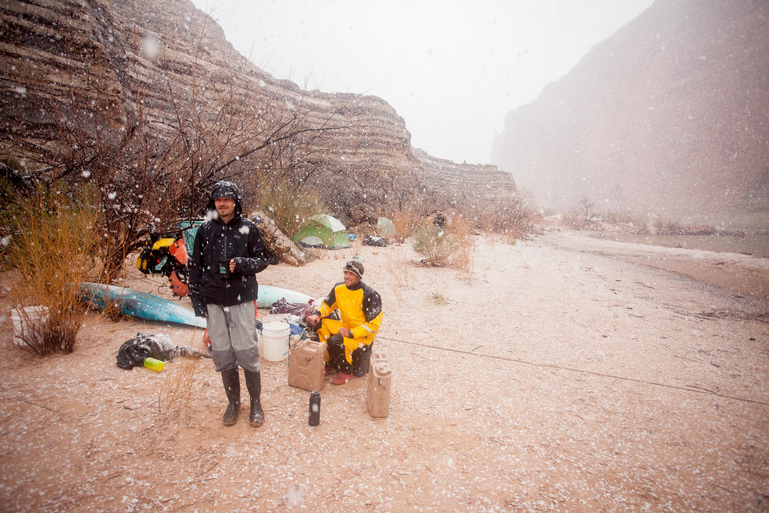 Heavy snowfall in the canyon - the joys of a mid-February float trip.