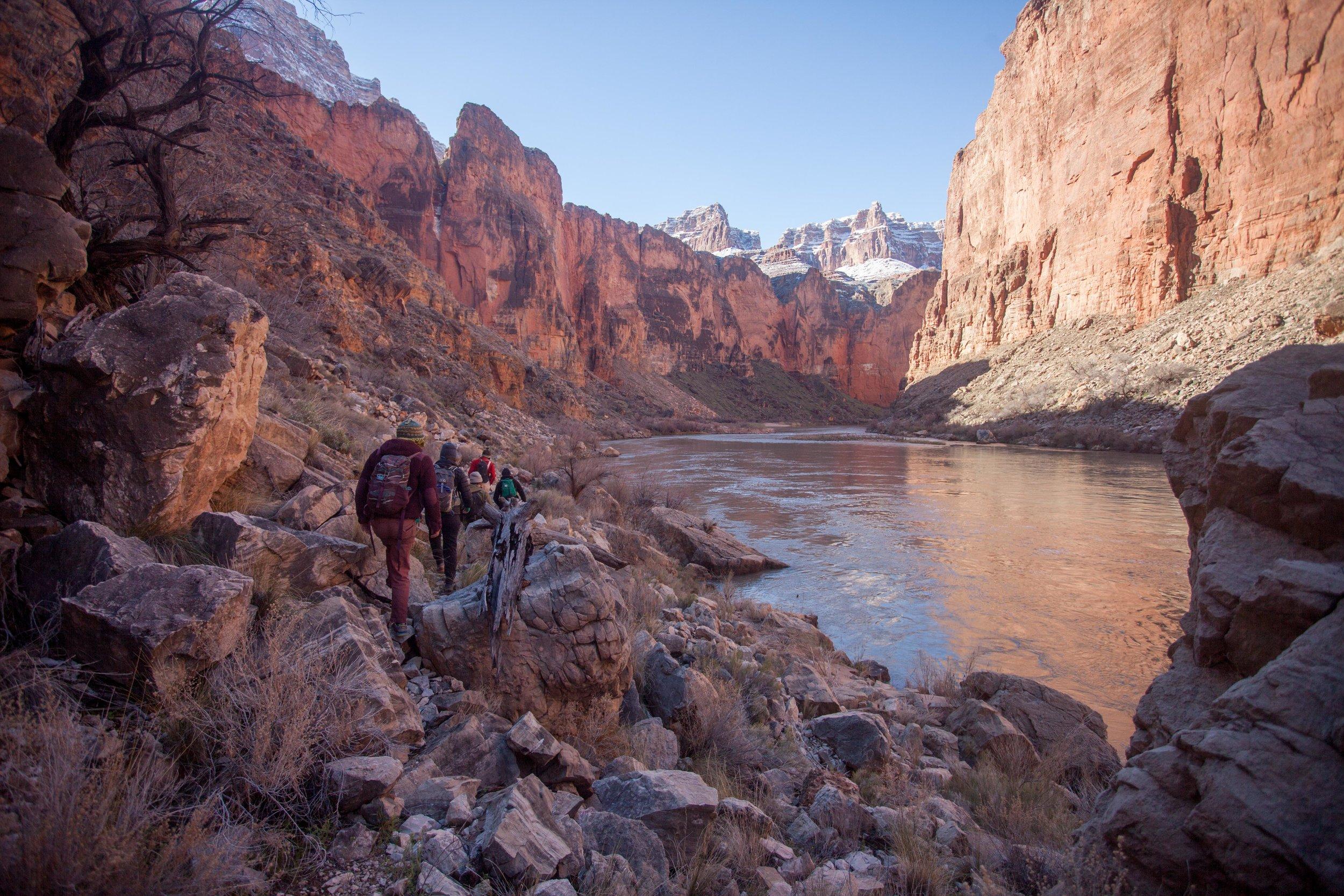 Hiking down canyon below President Harding Rapid