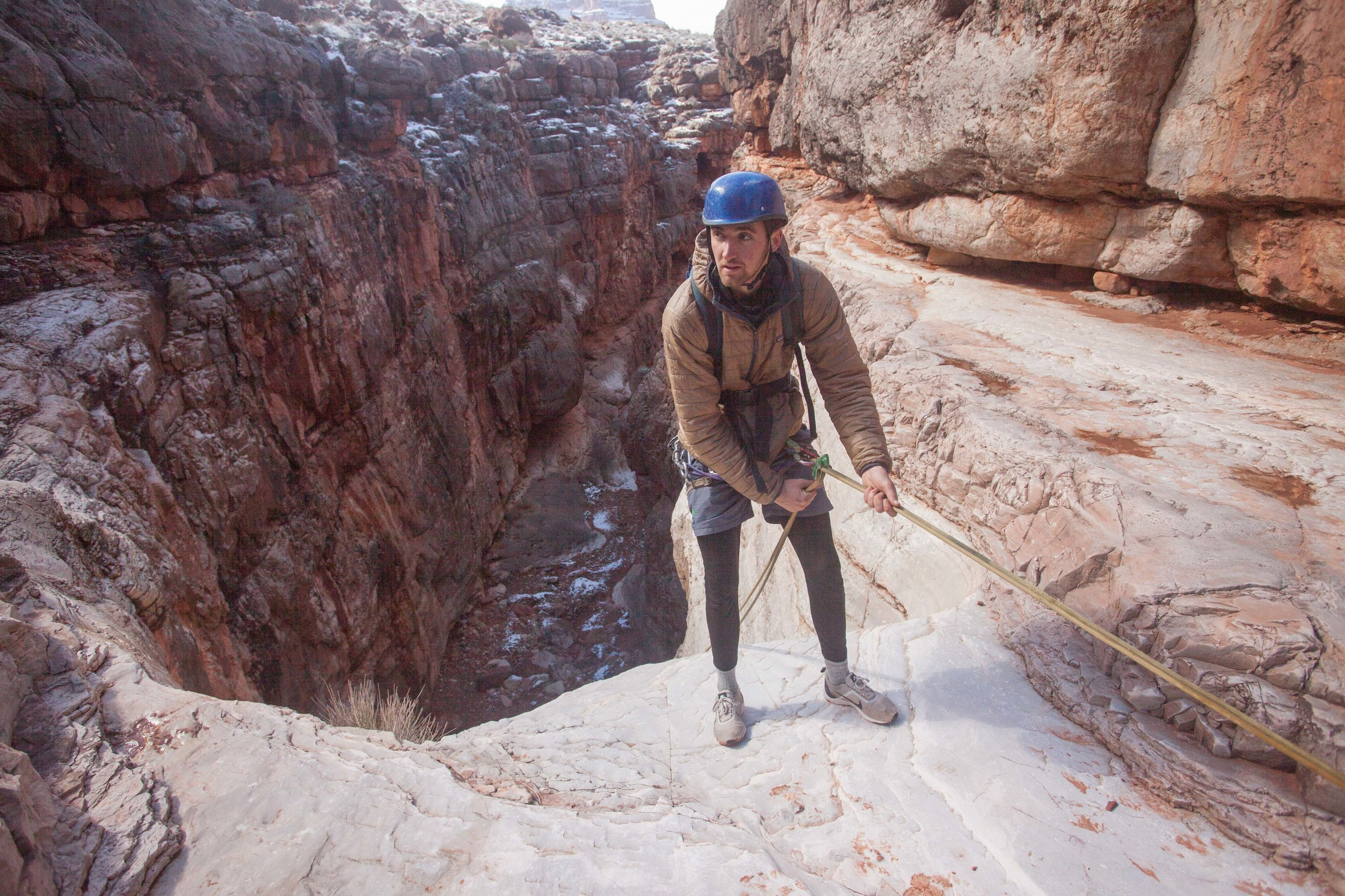 Rappelling into the top of Tatahoysa Canyon