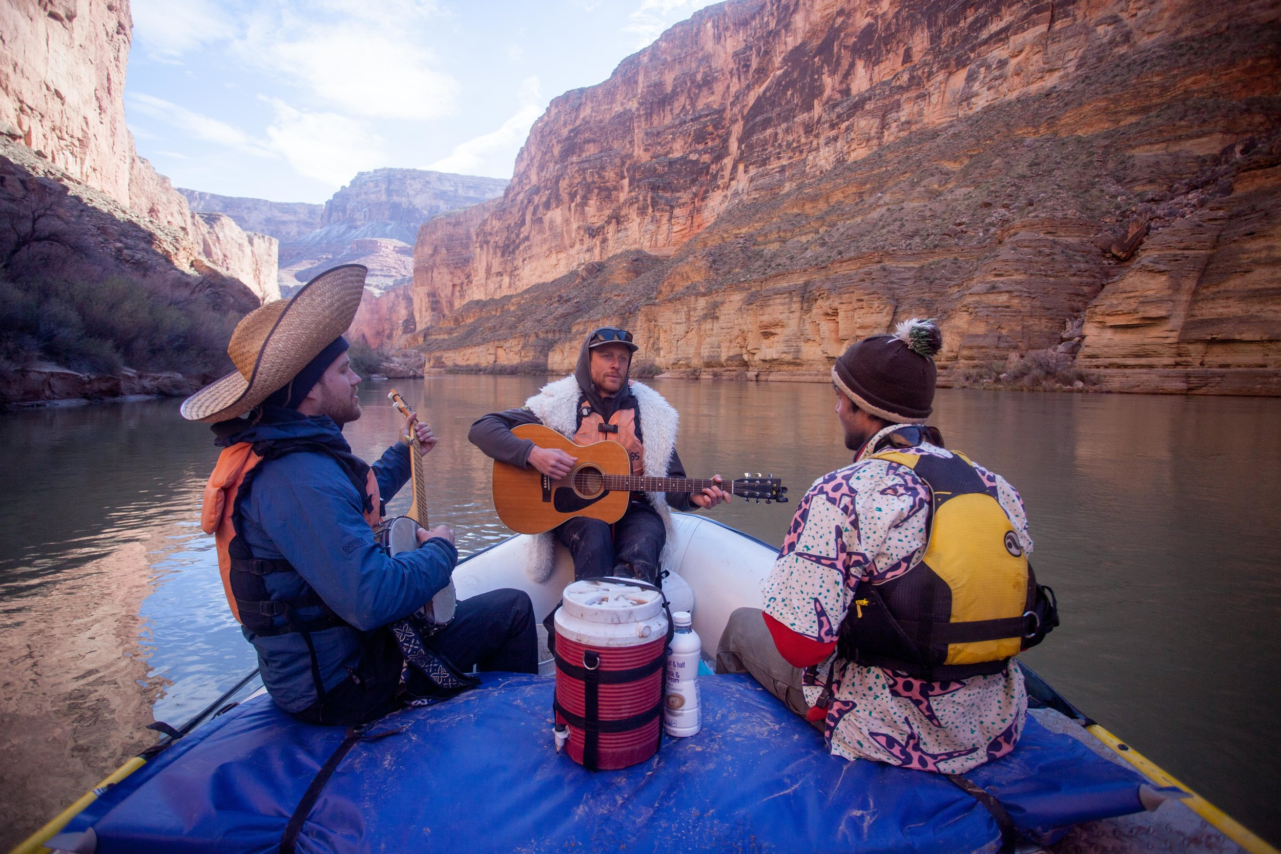 Singing through the flatwater, fueled by hot coffee in a huge thermos.