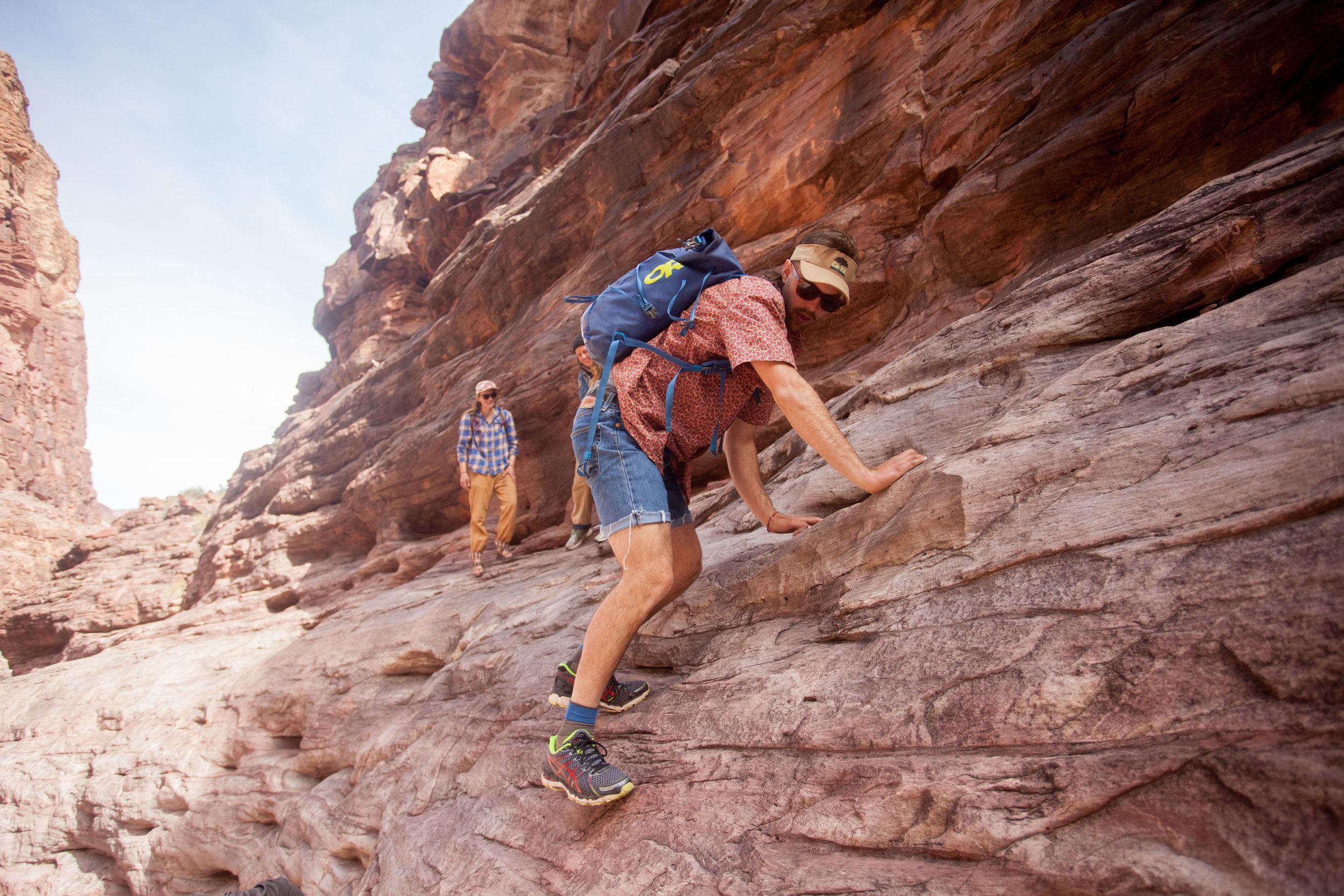 Scrambling up Papago Canyon near Nevill's Camp